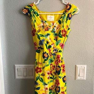 Kate Spade yellow floral dress like new size 0